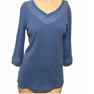 D & Co 3/4 sleeve knit top